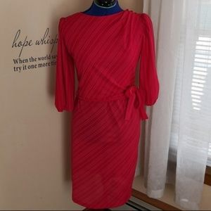 Vintage 1970s red secretary faux wrap dress